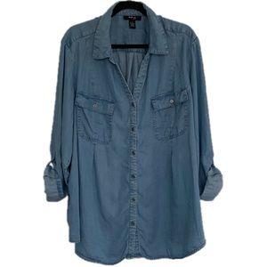 Style & Co Plus Size 3X Chambray Button Down Shirt